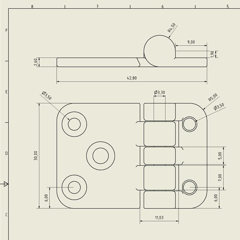 Scharnier - technische-Zeichnung